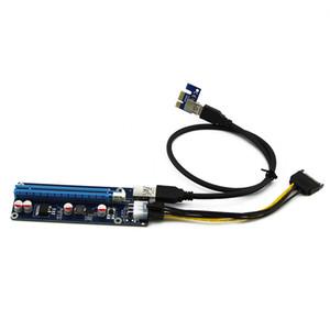 Livraison gratuite 10Pcs 60cm PCIe 1x à 16x PCI Express Extender Riser Card USB 3.0 Adaptateur d'extension PCI-e avec SATA Câble d'alimentation 15 broches à 6 broches