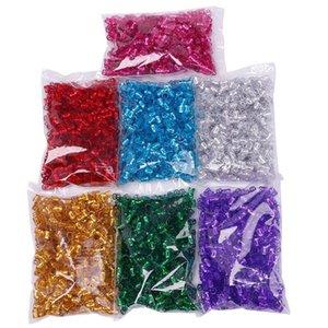 1см * 0,7 см, алюминий, 18pcs / Lot Dread стопорное кольцо для плетением волос Extensions Dreadlock бисер 6 цветов Braid шариков Ссылка BeadsRings для вязания