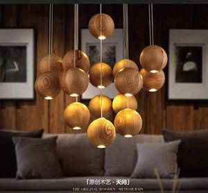 Contemporary bola de madera lámpara colgante lámparas de araña G4 de iluminación 3/7/10 / 16heads para la sala restaurante comedor accesorio de iluminación