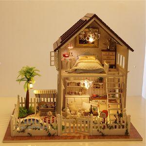 Toptan Satış - Toptan-DIY Cottage Paris Daire El Yapımı Doğum Günü Hediyesi Monte Oyuncaklar Yaratıcı Ev Model Villa DIY Doll House