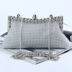 Factory Retaill Wholesale brand new handmade pretty aluminum sheet evening bag clutch with satin for wedding banquet party porm(More Colors)