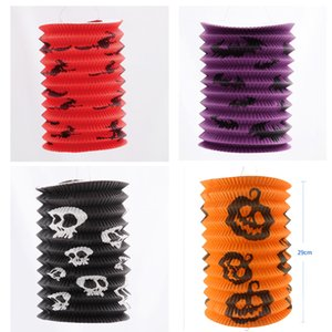 12pcs lot Halloween Prop Telescopic Lantern Paper Pumpkin Witch Ghost Bat Pattern Cylinder Scaldfish More Color For Party Decoration