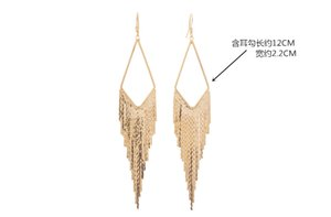 Europe and the United States one bar exaggerated super flash 2 color long Tassel Earrings Gold Quality