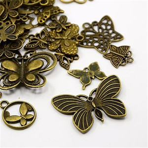 All'ingrosso-40pc Charms farfalla, ciondoli, Bronzo antico misto stile Hot Jewelry Finding