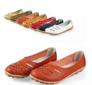 7 COLOR SIZE 35-42 Women Spring Summer Sandals Casual canvas shoes Fashion Genuine Leather Hollow Out take Working Cow Muscle Flats Shoes