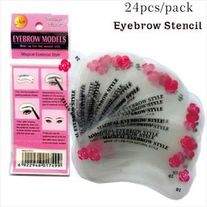24 PCS / Set Sourcil Stencil Réutilisable à la forme 24 Styles Différents Différents Guide de dessin Guide de la carte à sourcils