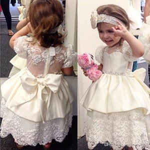 Customize Cute Flower Girl Dresses Lace Beads Party Birthday Tutu Ball Gown princess First Communion Girls Dresses For Wedding Pageant Gowns