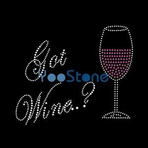 Özel Got Şarap Rhinestone Demir On Hot Fix Motif İçin Kadın Giyim 20pcs Transferler
