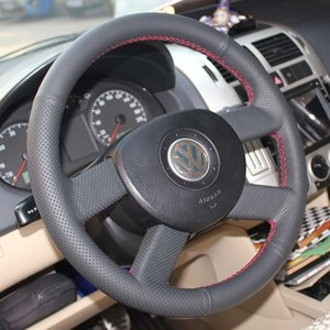 Steering wheel cover Case for Volkswagen old models VW old POLO Genuine leather DIY Hand sewing wheel cover Car styling