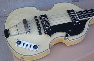 McCartney Hof H500 / 1-CT Çağdaş Keman Deluxe 4 Dizeleri Bas Doğal Elektro Gitar Alev Akçaağaç Yukarı Geri 2 511B Zımba Pickups