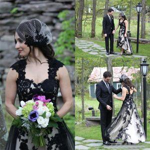 Kappen-Hülsen-High Low Lace Tüll Plus Size Gothic Hochzeit Brautkleider Land-Art-Weinlese-Schwarzweiss-Hochzeitskleid