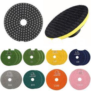 18 pezzi Tamponi per lucidatura diamantati flessibili lucidanti disco abrasivo disco ruota granito calcestruzzo bagnato per levigatrice a dischi Floppy Dischi