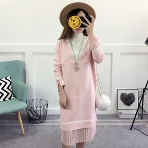 Long sleeved maternity dress, spring autumn Casual pearls clothes, R1LDDS-44