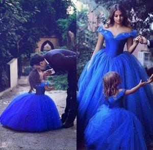 Мода Royal Blue Малыша цветок девочки платья для свадьбы Короткие рукава девушки день рождения платье бальное Маленькие девочки Pageant Wear