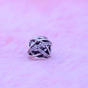 Galaxy Ажурные 925 серебряные ювелирные изделия кубического циркония Оригинальные бусы прелести Подходит Pandora браслет Бесплатная доставка 1шт / много