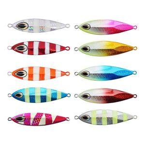 Mezclado 10 colores de metal Jigging lento Señuelos Set 40 g 60 g 80 g 100 g 120 g Cuchara luminosa Señuelos de plomo para pesca de agua salada