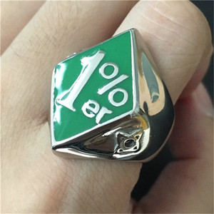 3pcs lot New Design Green Color 1% Biker Ring 316L Stainless Steel Fashion jewelry Band Party Biker Style Ring