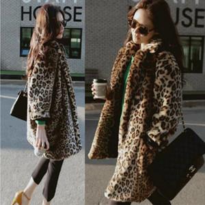 Новый имитация меха пальто корейский мех женщины свободные ветровка Сексуальная Леопард длинная шерсть женская куртка SML XL XXL