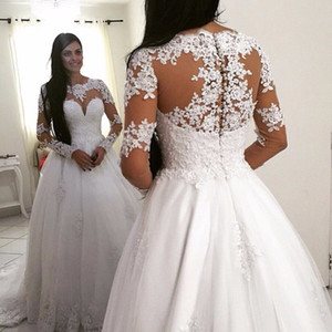 Princess Long Sleeve Lace Ball Gown Wedding Dresses Vintage White Ivory Weding Bridal Bride Wedding Gowns 2018 robe de mariage