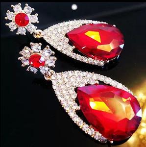 Падение драгоценный камень серьги длинные мотаться серьги горный хрусталь свадебные украшения Алмаз мотаться люстра мода серьги для женщин Рождественский подарок