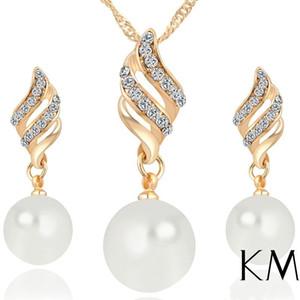 Inci Takı Gümüş Altın Kaplama Kristal Kolye Küpe Kadınlar için Zarif Düğün Takı Setleri