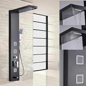 Great Black Rainfall Shower Panel Set com sistema de massagem torneira com jatos com coluna de chuveiro de mão chuveiro chuveiro