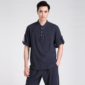 Toptan-Yaz Yeni Çin Erkekler Kısa Kollu Eğlence Rahat Gömlek Pamuk Keten Kung Fu Gömlek Tai Chi Giyim S M L XL XXL XXXL 2606