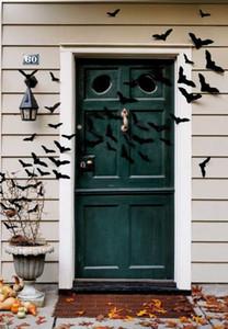 Creative Halloween Decor 12pcs set 3D Black Bat Decoration Wall Sticker Decal home door wreath spooky look