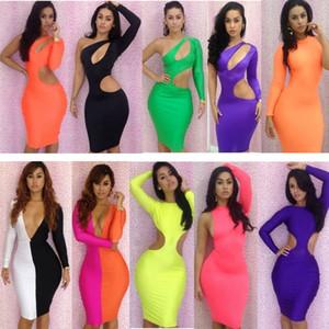 Partido del vendaje de Bodycon viste la ropa de la señora Fashion V-cuello de la fiesta de cóctel atractivo de las mujeres vestidos de manga larga del club del vestido de desgaste Mix ofertas de Colores