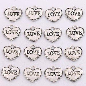Dots Rim AMOR Heart Charms 200 unids / lote Colgantes de Plata Antigua Joyería de Moda DIY L915 13.6x12.5mm