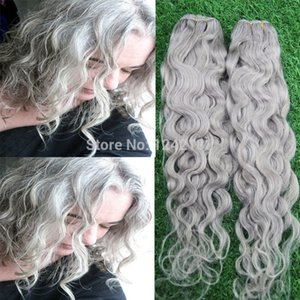 Best Silver Grey Hair Extensions 1PCS LOT Human Grey Hair Weave 100% Brazilian Virgin Remy Water Wave Gray Hair Extension 100G