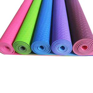 Экологичный двухцветный Нескользящий коврик для начинающих TPE Yoga с ремешком для переноски длиной 72 дюйма толщиной 1/4 дюйма (6 мм)