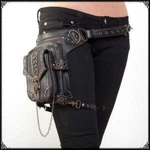 Women wholesale punk retro Messenger bag waist pack leg messenger shoulder bag travel bags packet fashion steampunk rock vintage style