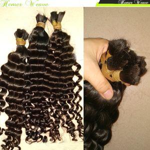 Crochet Tressage Hair No 100% Vierge des trames de cheveux humains malaisienne 300g / lot épais Bundles pleine Cousez vague profonde bouclés