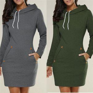 Longs pulls pour dames hoodies robe noir gris vin rouge armée vert automne automne femmes femmes manches longues à capuche hoodies sweats 5XL DHL Nx170909