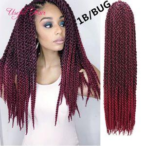 Cubic giro ganchillo trenzas 12stands pelo / pcs 3d extensiones de cabello ganchillo cúbico cabello trenzado sintético para las mujeres negras caja trenzas 2020 bucle