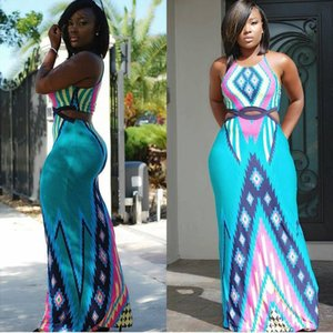Women Geometric Print Summer Long Maxi Dress 2016 Fashion Casual Sleeveless Bodycon Party Dresses Plus Size Vestidos Vintage long dresses