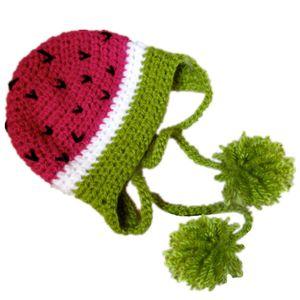 Sombrero de la novedad de la sandía, hecho a mano del ganchillo del telar Sombrero de la fruta de la muchacha del muchacho del bebé, sombrero del Pompom de los niños de Earflap, traje de Halloween, apoyo recién nacido de la foto