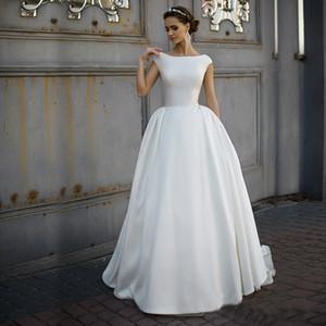 A 라인 높은 목 장식이없는 매트 새틴 간단한 웨딩 드레스 스위프 기차 우아한 대상 신부 드레스 vestidos 드 드