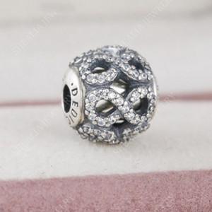 Neue 925 Sterling Silber Pave Klar Kristall Infinity Engagement Essenz Charm Perlen Nur Fit Frauen Essenz Charme Armbänder DIY Schmuck He13
