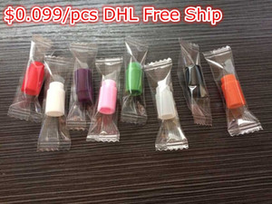 $0.099 Disposable drip tips Individually Wrapped Silicone Rubber Test Tester Drip Tips Colors DHL Free Ship