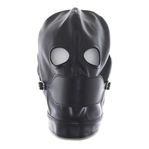 Cagoule de masque complet en cuir GIMP, yeux ouverts avec bouche Bouche Gag Bondage Fetish Restraint # R501