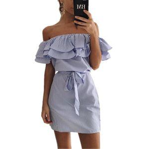 ELSVIOS Ruffles Vestido de verano con manga de mariposa 2017 Vestido de rayas con cuello oblicuo informal fuera del hombro Vestidos de mujer con cinturón Vestidos