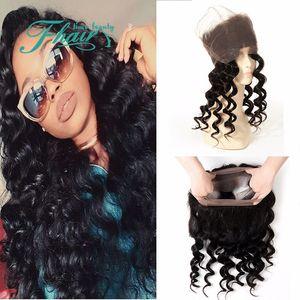 360 Lace Band Frontal 8A capelli umani indiani sciolti Wave Lace frontale chiusura pezzo con i capelli del bambino economici onda allentata pizzo pieno frontale