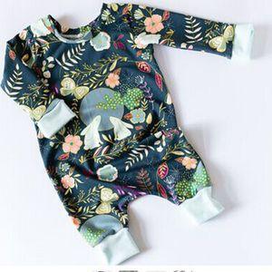 Kinder Kleidung Frühling Herbst Neugeborenes Baby Jungen Mädchen Baumwolle Langarm Blume Overall Niedlichen Kaninchen Mond Gedruckt Spielanzug Sunsuit Baby Kleidung