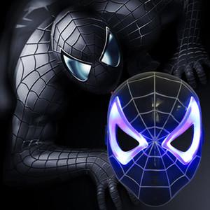 NUEVA máscara Ultraman de dibujos animados para niños con máscara de Spider-Man de plástico negro con suministro de luz para la fiesta