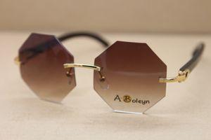 2020 nuove donne di stile occhiali senza orlo di 4.189.706 poligono Occhiali nero corno di bufalo di vetro di Sun degli occhiali da sole di guida C Decoration Dimensione: 54-18-140mm