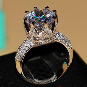 Al por mayor - Victoria Wieck 8ct Big Stone Solitaire 925 plata esterlina llena Topaz Simulado Diamante corona de la boda anillos para mujer tamaño 5/6