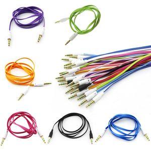 3.5mm için 3.5mm Renkli düz tip Araba Aux ses Kablosu Genişletilmiş Ses Yardımcı Kablo 100 adet / grup