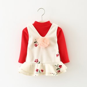 2017 new winter girls Kids clothing sets dress Sassy Crocheted Flower Pompon Sleeveless Dress and Long-sleeve Top Set for Baby Girl